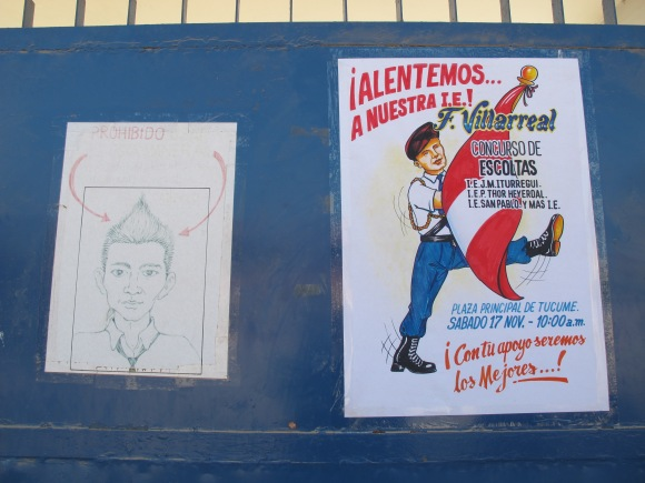 loved these posters at the local colegio. one advising the boys that faux-hawks are not okay, and the other telling the kids about the marching on saturday for the anniversary.