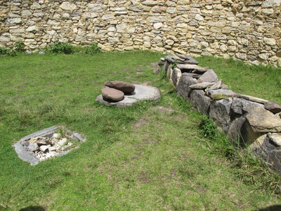 one of the kitchens...the line of the rocks on the right are thought to be where they stored their cuys (guina pigs).