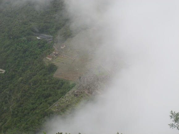 the clouds parted for a brief second, and i snapped a picture of the view of machu picchu from above.