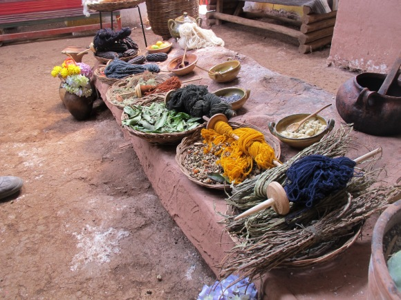 all of the examples of local plants that are used to create dyes for the alpaca.