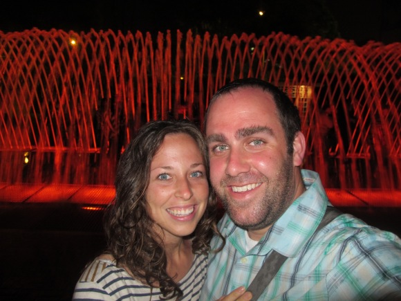 we were soaked after running through the fountain tunnel behind us.