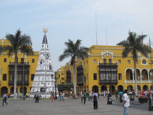 in the plaza mayor in lima.