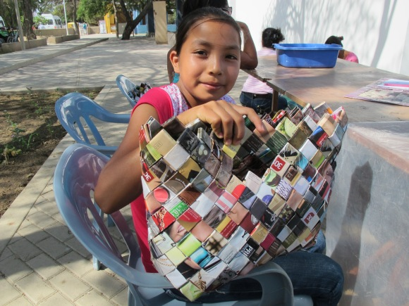 sarita with her finished bag.