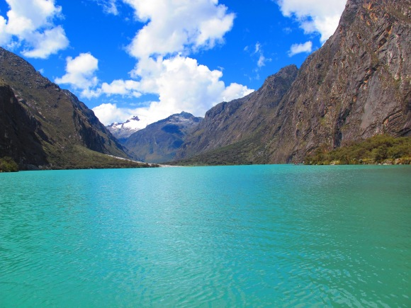 the beautiful, turquoise glacier made lake, laguna llanganuco.