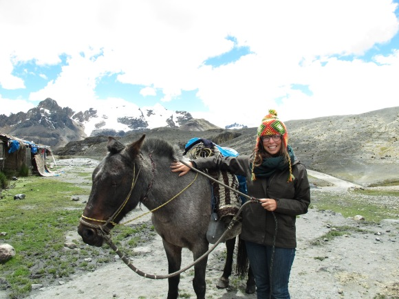 to get to the glacier, first you go by horseback and then hike for about another mile. this is me and my horse, ol' smokey.