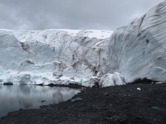 the glacier is an excellent example of the dramatic effects of global warming. so much of the glacier has changed just within even the last year!