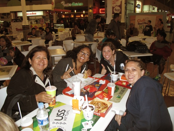 ana maria and the trainees enjoying some good ol' american food!